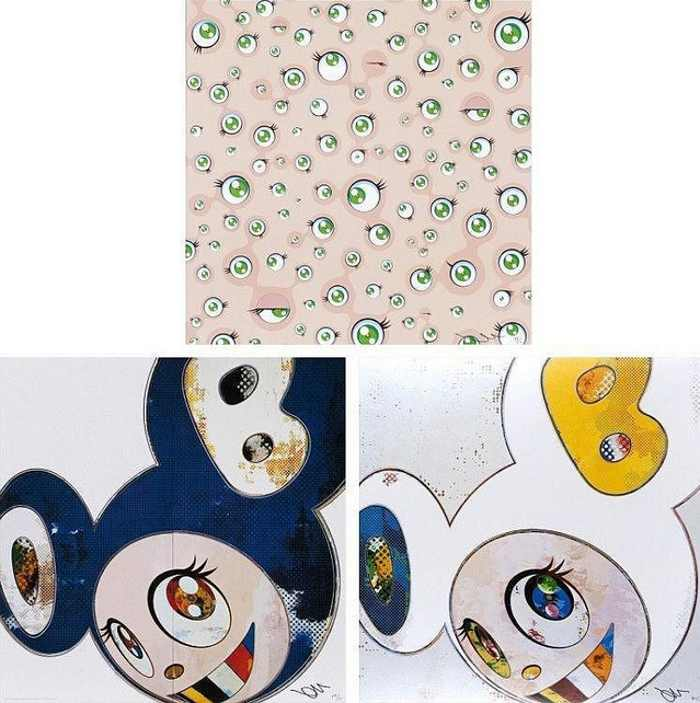 Takashi Murakami-Jellyfish Eyes, And Then x 6 Blue, And Then x 6 (White-The Superflat Method, Blue and Yellow Ears)-2013