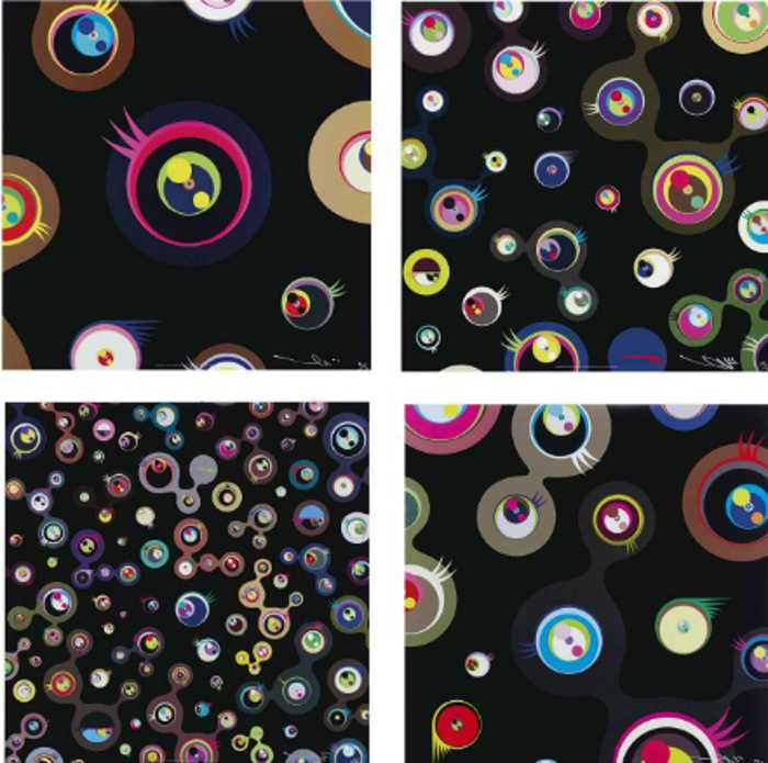 Takashi Murakami-Jellyfish Eyes - Black 1, Jellyfish Eyes - Black 2, Jellyfish Eyes - Black 3, Jellyfish Eyes - Black 5-2004