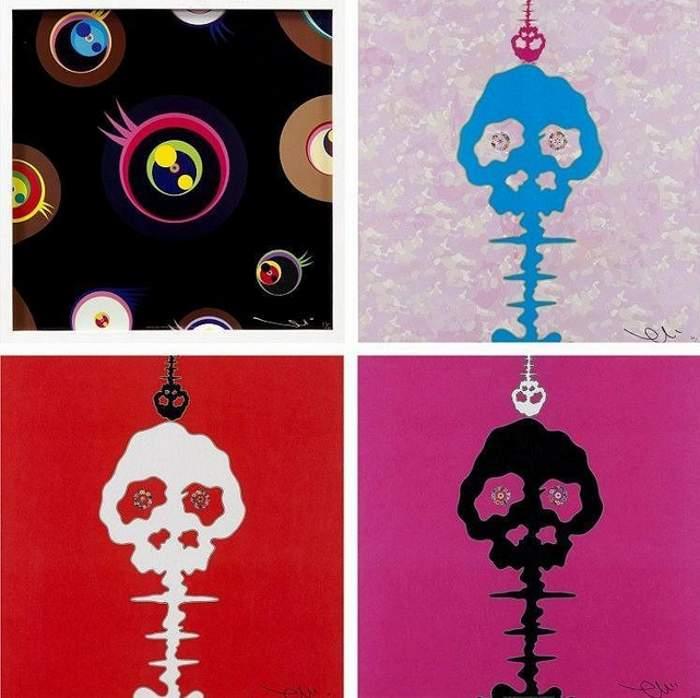 Takashi Murakami-Jellyfish Eyes-Black 1, Camouflage Pink, Red Time, Pink Time-2011