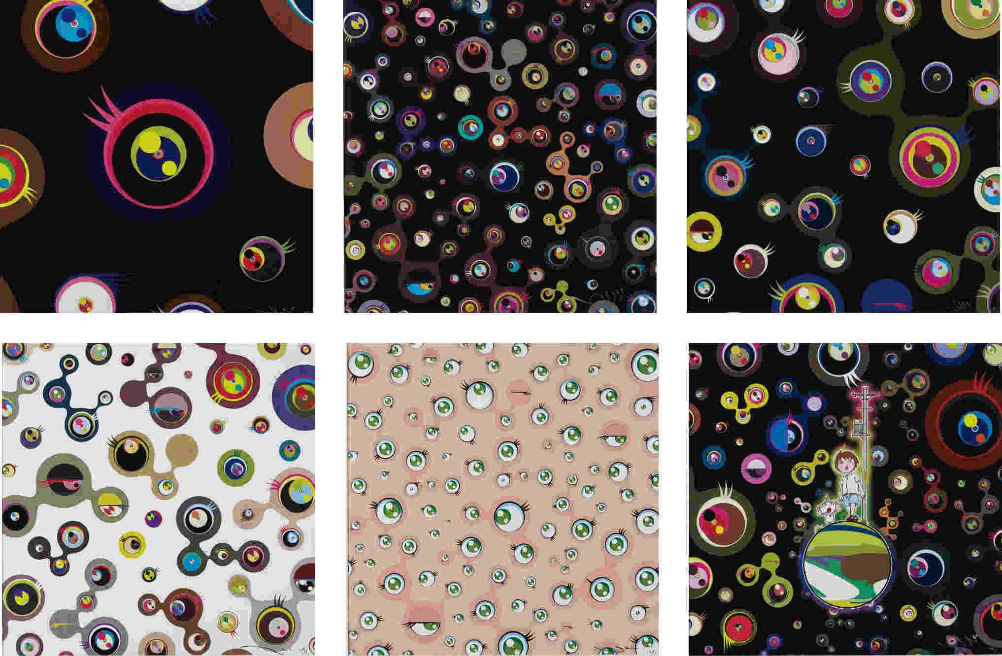 Takashi Murakami-Jellyfish Eyes - Black 1; Jellyfish Eyes - Black 5; Jellyfish Eyes - Black 3; Jellyfish Eyes - White 4; Jellyfish Eyes; Jellyfish Eyes-2013