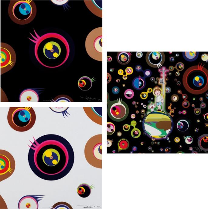 Takashi Murakami-Jellyfish Eyes-Black 1, Jellyfish Eyes-White 1, Jellyfish Eyes-2013
