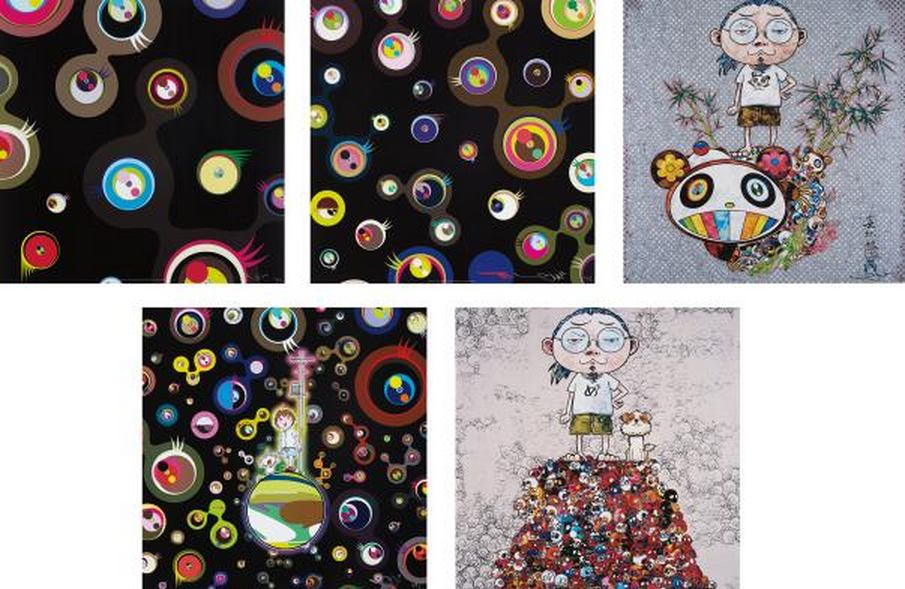 Takashi Murakami-Jellyfish Eyes-Black 2, Jellyfish Eyes-Black 3, Jellyfish Eyes, Pom and Me-On the Red Mound of the Dead, I Met a Panda Family-2013