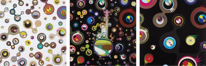 Takashi Murakami-Jellyfish Eyes - Black 2; Jellyfish Eyes - White4; and Jellyfish Eyes-2013