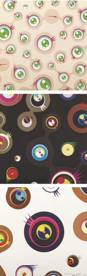 Takashi Murakami-Jellyfish Eyes-Cream, Jellyfish Eyes-Black 2, Jellyfish Eyes-White 1-2011