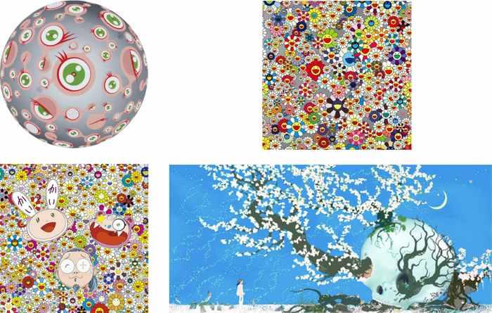 Takashi Murakami-Jellyfish Eyes, Flower, Kaikai Kiki and Me, Chicho Aoshima A Contented Skull-2008