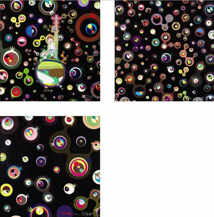 Takashi Murakami-Jellyfish Eyes, Jellyfish Eyes-Black 3, Jellyfish Eyes-Black 5-2004