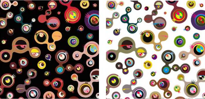 Takashi Murakami-Jellyfish Eyes-Black 4, Jellyfish Eyes-White 4-2006
