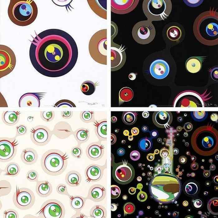 Takashi Murakami-Jellyfish Eyes-White 1, Jellyfish Eyes-Black 2, Jellyfish Eyes Cream, Jellyfish Eyes-2013