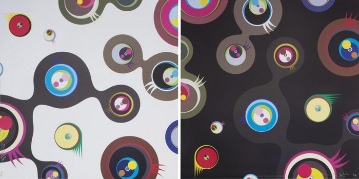 Takashi Murakami-Jellyfish Eyes - White 2, Jellyfish Eyes - Black 2-2011