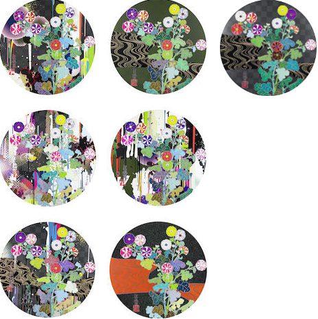 Takashi Murakami-Kansei Korin Gold, Kansei Korin Red Stream, Kansei, With reverance, I lay myself before you- Korin- Chrysanthemum, I recall the time when my feet lifted off the ground ever so slightly- Korin- Chrysanthemum, Kansei: Like the River's Flow, Kansei: Abstraction-2010