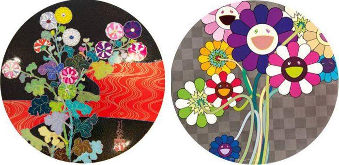 Takashi Murakami-Kansei Korin Red Stream, Purple Flowers In A Bouquet-2010