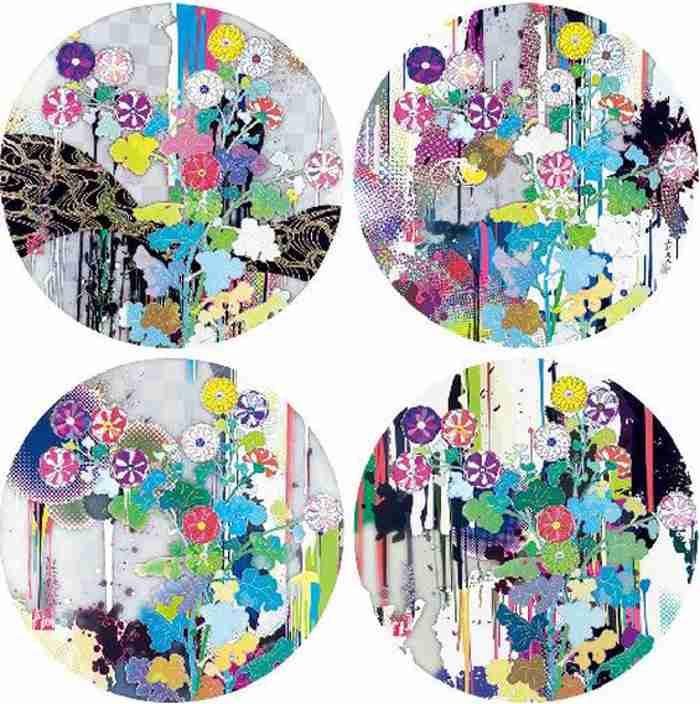 Takashi Murakami-Kansei Like the Rivers Flow, Kansei Abstraction, With reverence Korin-Chrysanthemum, I Recall the Time-Korin-Chrysanthemum-2010