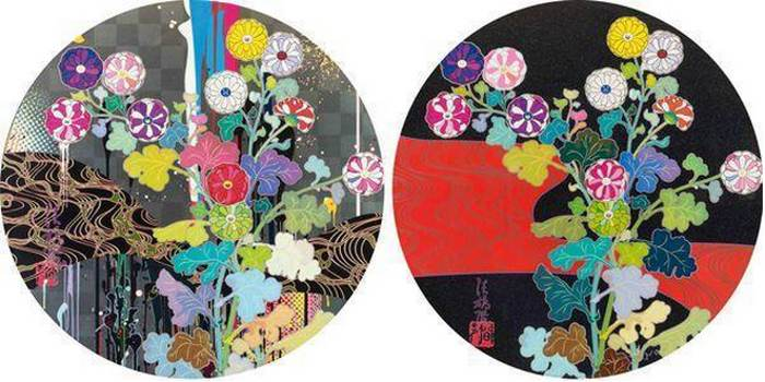 Takashi Murakami-Kansei Like the Rivers Flow, Kansei Korin Red Stream-2010