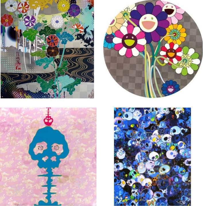 Takashi Murakami-Kansei Platinum, Purple Flowers in a Bouquet, Bokan - Camouflage Pink, MCBST 1959-2011-2011