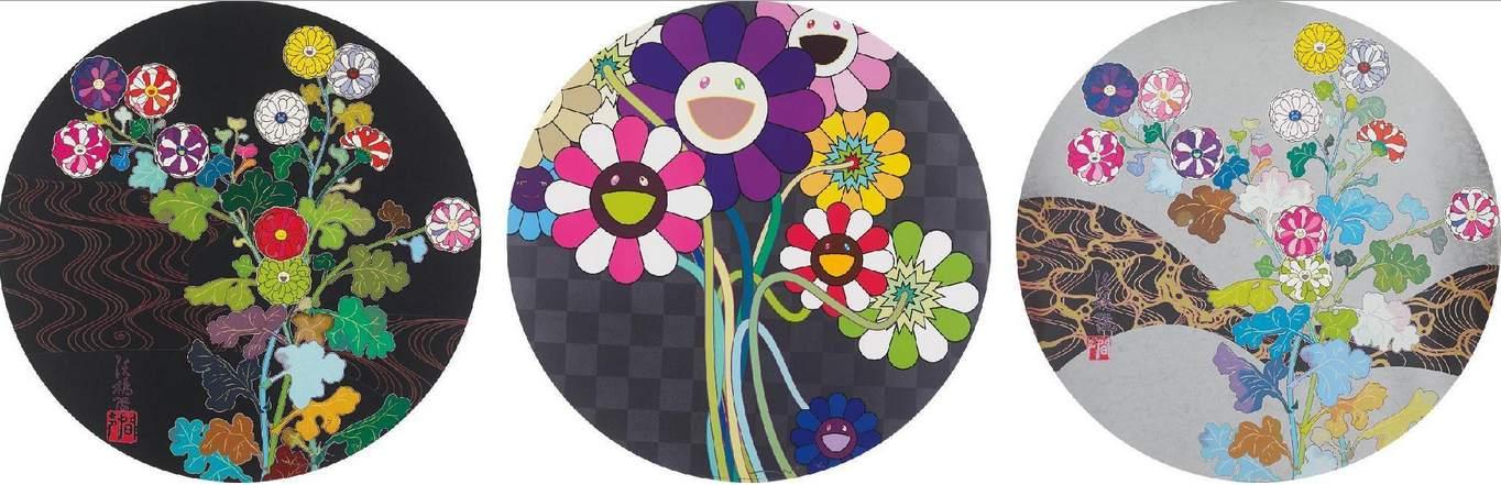 Takashi Murakami-Kansei Skulls, Purple Flowers in a Bouquet, Architect of the Heart-2010