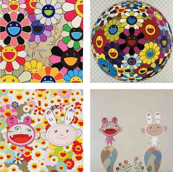 Takashi Murakami-Killer Pink, Flower Ball (Kindergarten Days), Kaikaikiki News, Red Rope-2003