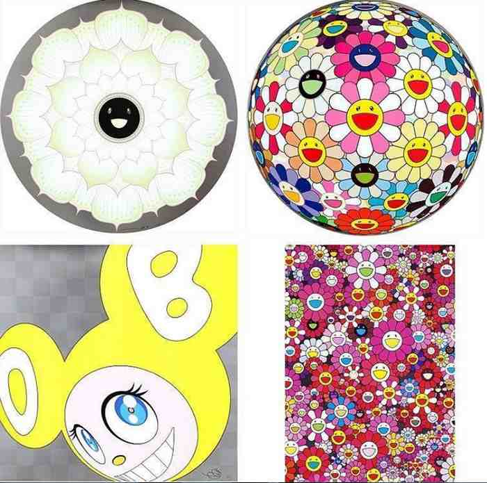 Takashi Murakami-Lotus Flower White, Flowerball Pink, And Then (Yellow), An Homage to Monopink 1960 B-2012