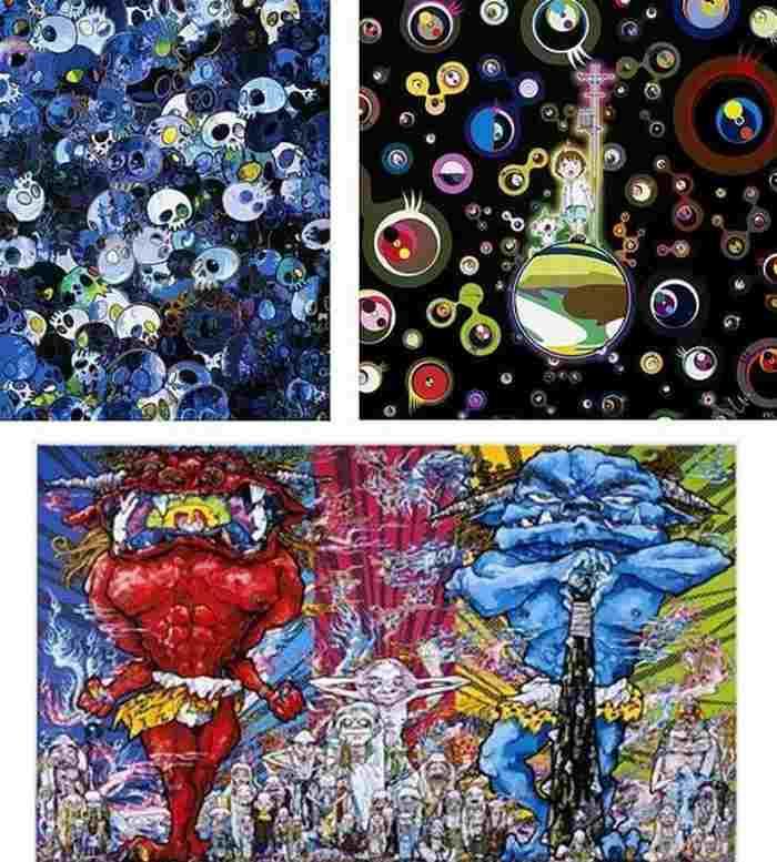 Takashi Murakami-MCBST 1959-2011, Jellyfish Eyes, Red Demon and Blue Demon with 48 Arhats-2013