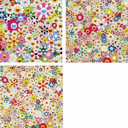 Takashi Murakami-Maiden In The Yellow Straw Hat, Flowers In Heaven, Field Of Smiling Flowers-2010