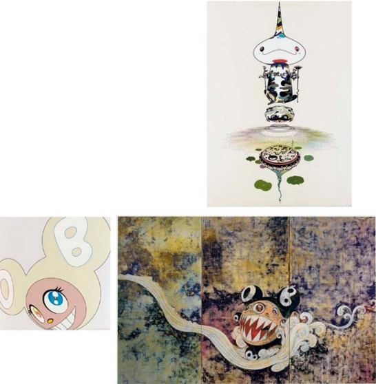Takashi Murakami-Making a U-Turn, The Lost Child Finds His Way Home; Jellyfish Eyes - Max and Shimon in the Strange Forest; 727; Flower; White Dob; Reversed Double Helix; Jelly fish; Blackbeard; Tan Tan Bo; Kiki with Moss; Kaikai with Moss; Homage to Francis Bacon (study for George Dyer); Reversed Double Helix Mega Power; Skulls Rock; Killer Pink-2005