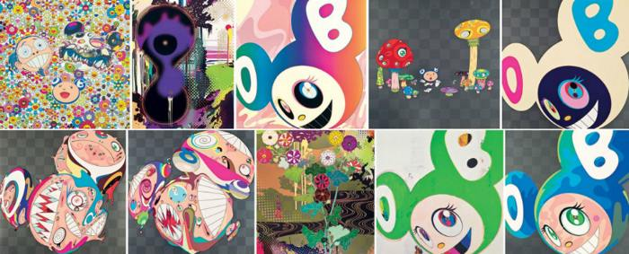 Takashi Murakami-Me and Double-DOB, Infinity, AND THEN Rainbow, Guru Guru, AND THEN Platinum, Melting DOB D, Melting DOB E, Kansei Gold, And then Green Truth, Melting DOB A-2009