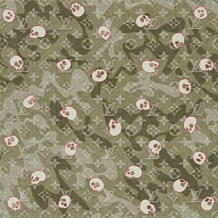Takashi Murakami-Monogramouflage Denim Skull (White)-2008