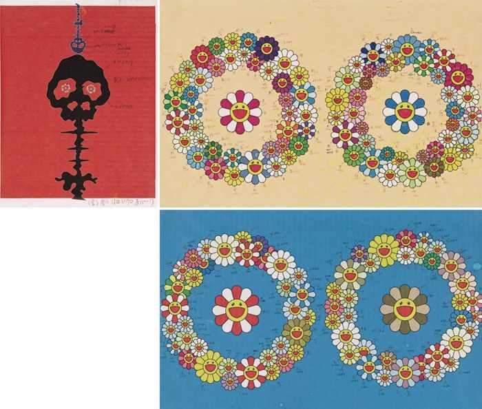 Takashi Murakami-Mushroom Bomb Drawing (3 Works)-2000