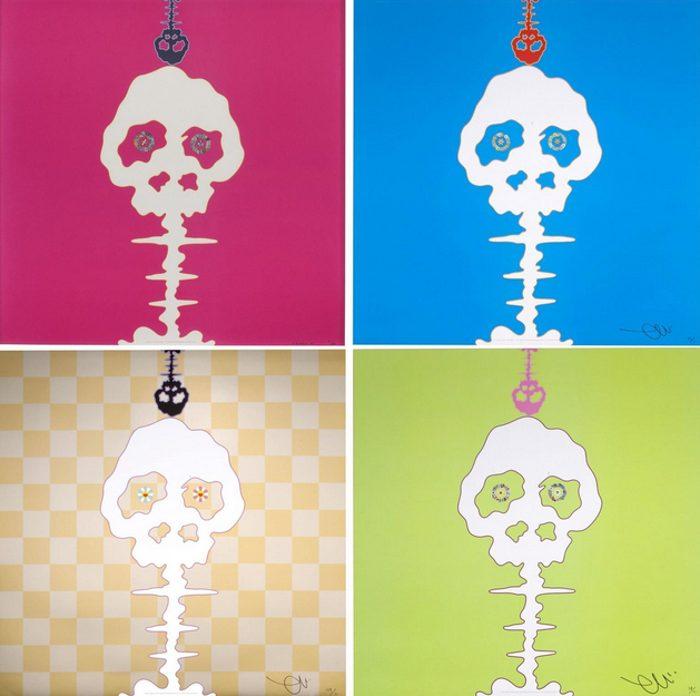 Takashi Murakami-Mushroom Bomb Pink, Lime Green-Time, Dokuro Yellow, Time Bokan-Blue-2012