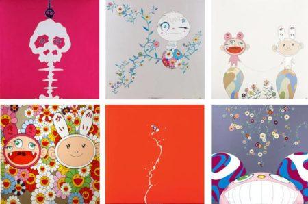 Takashi Murakami-Mushroom Bomb Pink, Red Rope, Genki Ball, Kaikaikiki News, Doves and hawks, Dob Flowers-2001