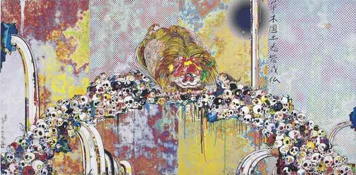 Takashi Murakami-Of Chinese Lions, Peonies, Skulls and Fountains-2012