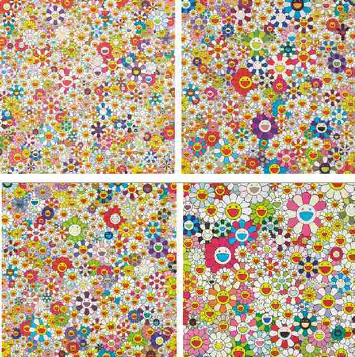Takashi Murakami-Open Your Hands Wide Embrace Happiness!, Flowers, Flowers, Flowers, If I Could Reach That Field of Flowers I Would Die Happy, Maiden In The Yellow Straw Hat-2010