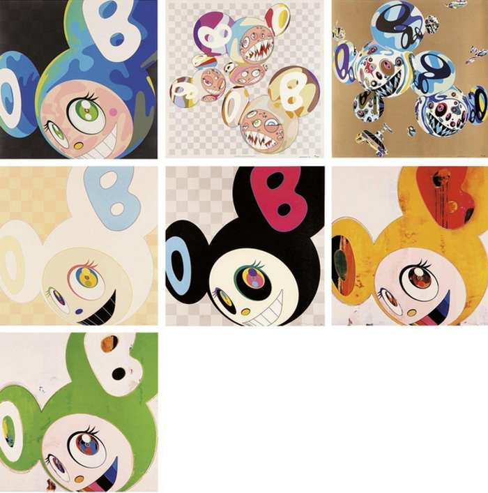 Takashi Murakami-PARA-KITI DOB, Reversal D.N.A, And then (Ichimatsu Pattern, Black, Yellow Jelly, Green Truth), Melting DoB A-2008