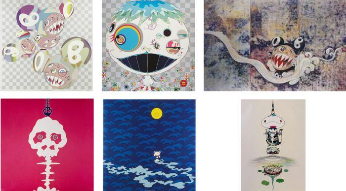 Takashi Murakami-Para-Kiti DOB, Jelly Fish, 727, Mushroom Bomb Pink, Moon, Reversed Double Helix-2005