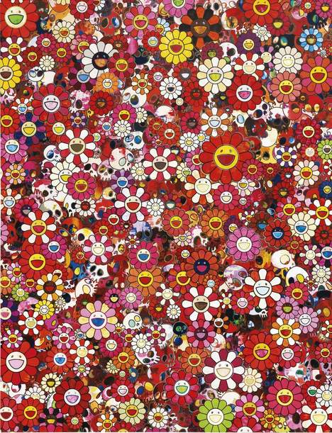 Takashi Murakami-Pink Skull and Flower Painting-2011