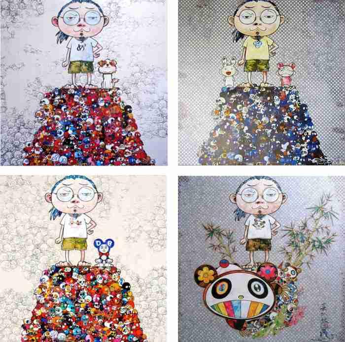 Takashi Murakami-Pom & Me-On the Red Mound of the Dead,Kaikai Kiki & Me-On the Blue Mound of the Dead, DOB & Me-On the Red Mound of the Dead, I Met a Panda Family-2013