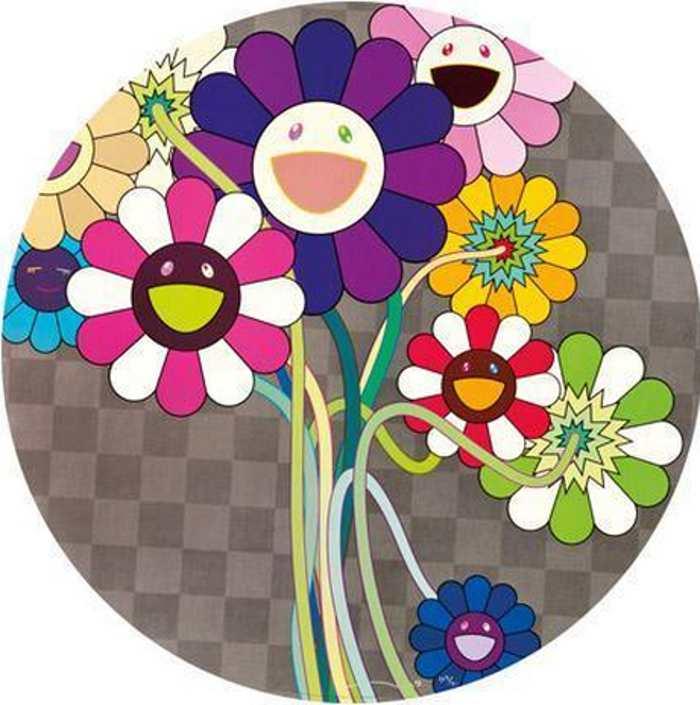 Takashi Murakami-Purple Flowers in a Bouquet-2010