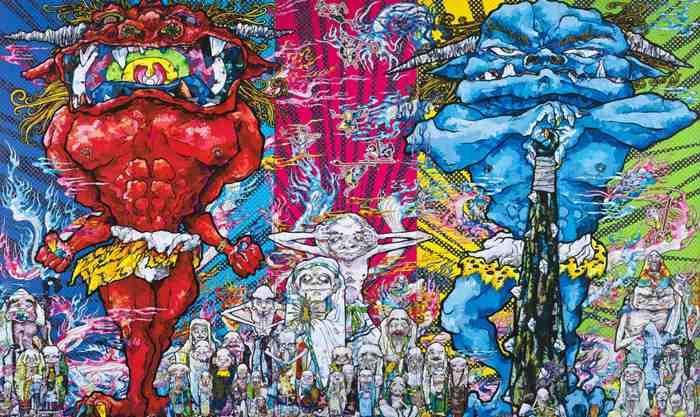 Takashi Murakami-Red Demon and Blue Demon with 48 Arhats-2013