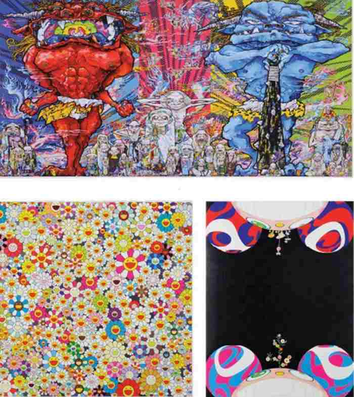 Takashi Murakami-Red Demon and Blue Demon with 48 Arhats, Fields of Smiling Flowers, Flowers Have Bloomed-2013
