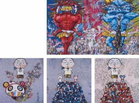 Takashi Murakami-Red Demon and Blue Demon with 48 Arhats, I Met a Panda Family, Kaikai Kiki & Me-On the Blue Mound of the Dead, DOB & Me-On the Red Mound of the Dead-2013