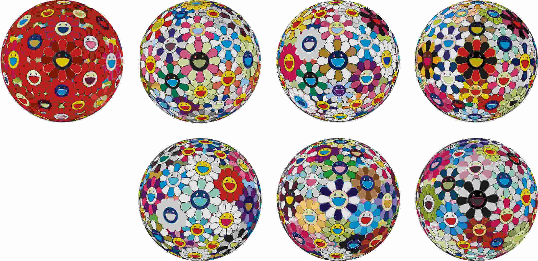 Takashi Murakami-Red Flower Ball (3-D); Flowerball Cosmos (3D); Flower Ball (3-D) Autumn 2004; Flower Ball (Lots of Colors); Flower Ball (3-D) Sequoia Sempervirens; Flower Ball (3-D) Kindergarten; and Flowerball Blood (3-D) V-2013