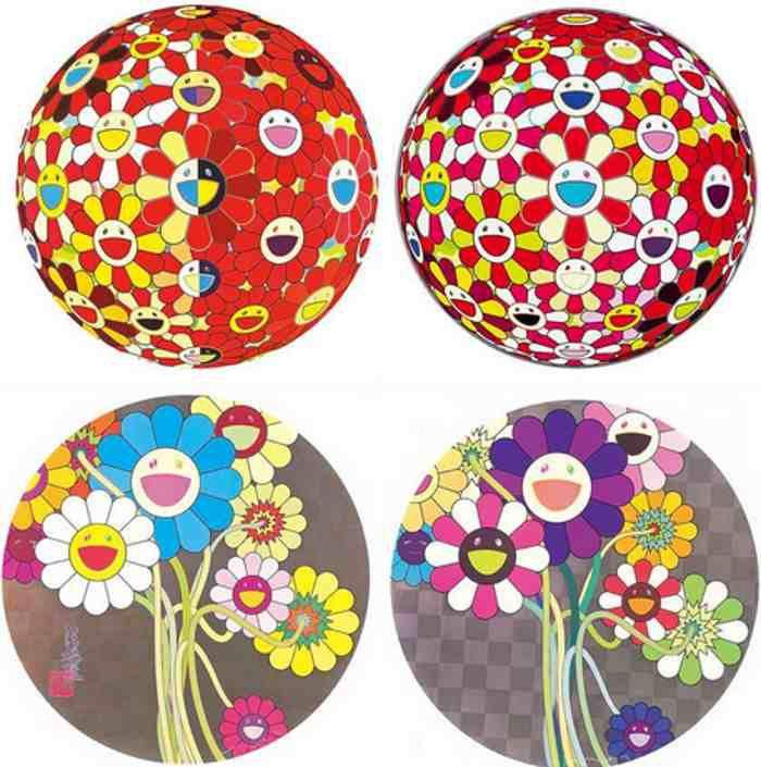 Takashi Murakami-Red Magic Flute 3D Ball, Goldfish 3D Ball, Flower for Algernon, Purple Bouquet-2011