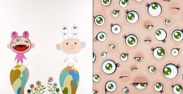 Takashi Murakami-Red Rope, Jelly Fish Eyes-2002