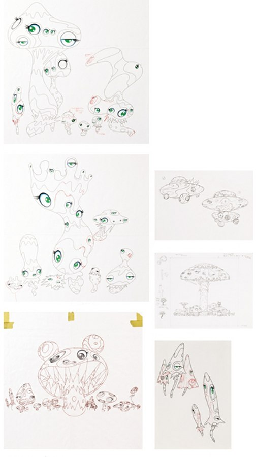 Takashi Murakami-Smooth Nightmare Drawing, Smooth Nightmare Drawing, Kinoko Drawing, Soutatsu Garden Drawing, Untitled, Mushrooms Drawing-2000