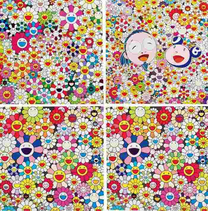 Takashi Murakami-Such Cute Flowers No.1 & No.2, Madam in The Yellow Straw Hat, Me and Mr Dob-2010
