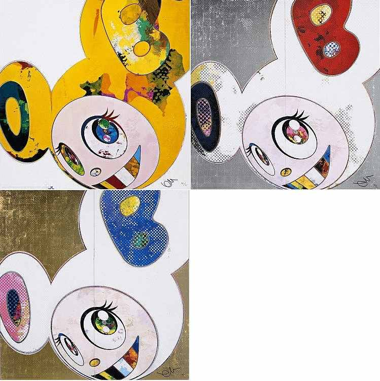 Takashi Murakami-And Then, And Then And Then And Then And Then Yellow Universe; DOB in Pure White Robe (Navy & Vermilion); DOB in Pure White Robe (Pink & Blue)-2013