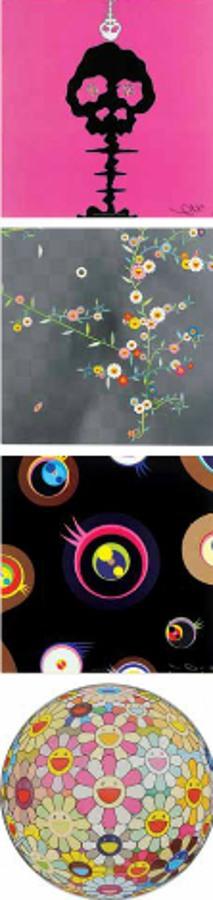 Takashi Murakami-Time Bokan-Pink, Cosmos, Jellyfish Eyes-Black 2, Flowerball Margaret-2011