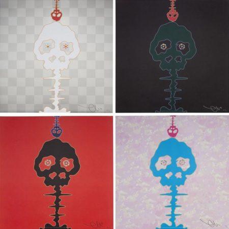 Takashi Murakami-Time Bokan-Red, Dokuro Silver, Bokan-Camouflage Pink, Time Bokan-Black-2012