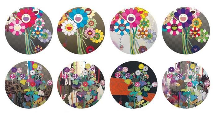 Takashi Murakami-Warhol Silver, Flowers for Algernon, Even the Digital..., Purple Flowers in A Bouquet, Kansei-Like the River's Flow, Recall the Time ..., Kansei Kori Red Stream,Kansei-Abstraction-2010
