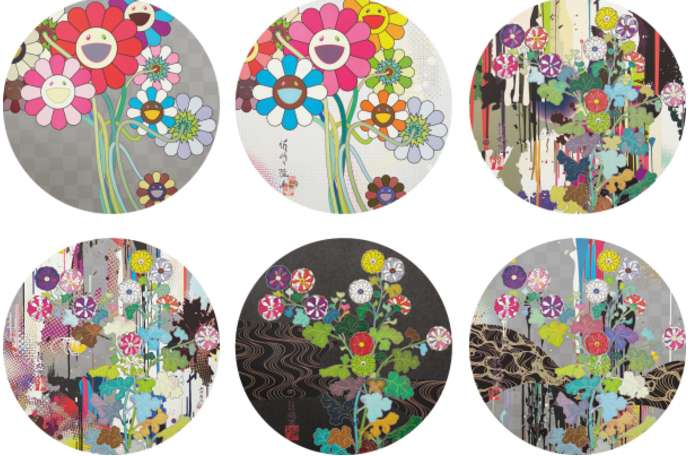 Takashi Murakami-Warhol-Silver, I Recall The Time When My Feet Lifted Off The Ground Ever So Slightly-Korin-Chrysanthemum, Kansei-Like The River's Flow, Kansei-Skulls, Kansei-Abstraction, Even The Digital Realm Has Flowers To Offer!-2010
