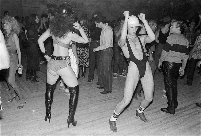 "Tannenbaum_Revelers dance at Bond International Casino's news ""Construction Party""_NYC_1980."